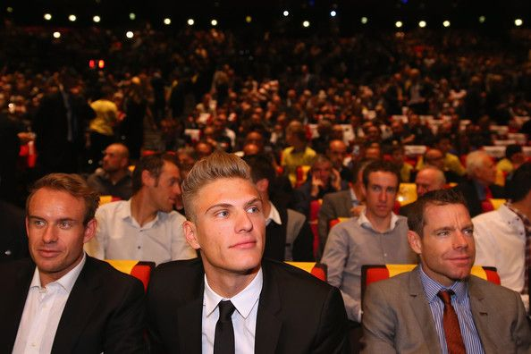 Marcel Kittel Photos Photos - Alexander Kristof of Norway, Marcel Kittel of Germany and Cadel Evans of Australia attend the 2015 Tour de France  Route Presentation on October 22, 2014 in Paris, France. - Le Tour de France Route Announcement