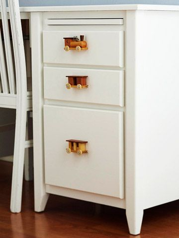 Very creative drawer pulls for a child's desk or dresser (ok maybe for us big kids too!)