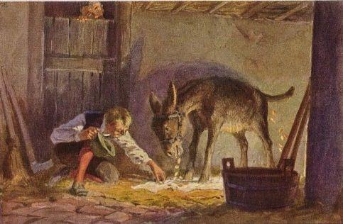 """""""Tischlein deck Dich"""" - Illustration zu Grimms Märchen von Professor Paul Hey, Maler, Grafiker und Illustrator (19.10.1867 in München - 14.10.1952 Gauting)"""
