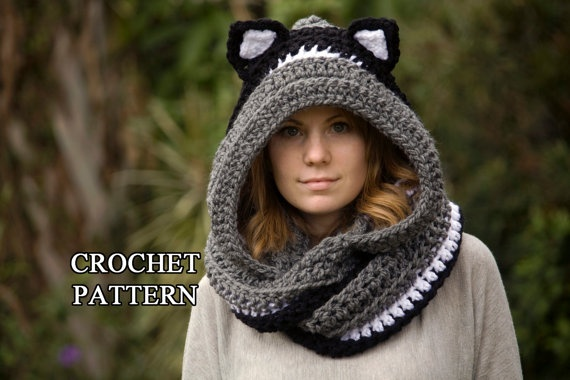 CROCHET PATTERN Cat Scarf, Scoodie, Hooded Scarf with Cat Ears, Animal Scarf, Instant Download