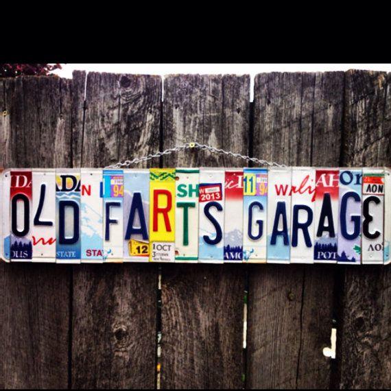 Old farts Garage. License plate art. Grandpa. by 1BentKeepsake