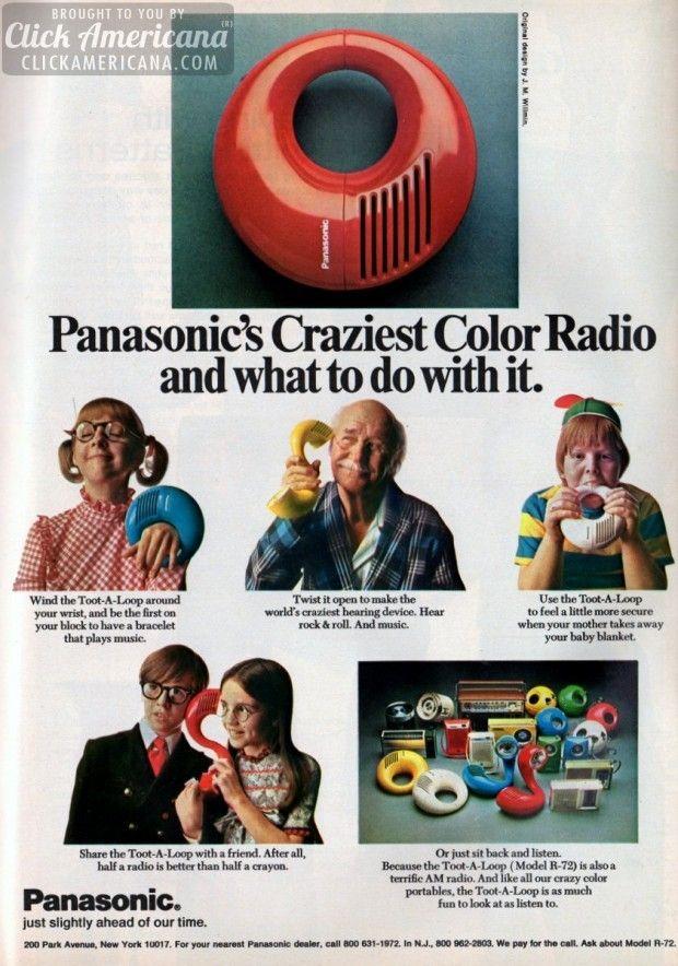 Toot-A-Loop & Panasonic's craziest color portables (1971-1972)  Read more at http://clickamericana.com/eras/1970s/toot-a-loop-panasonics-craziest-color-radio-portables-1972 | Click Americana