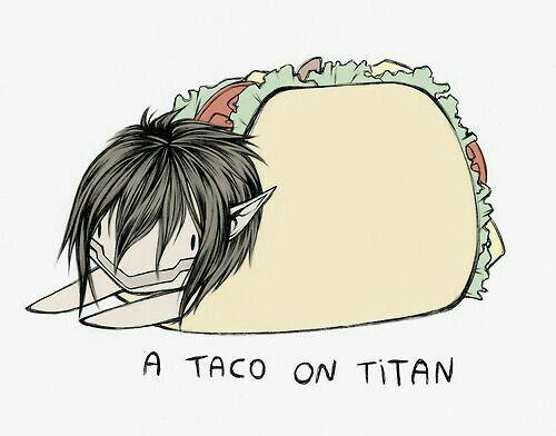 A Taco on Titan, funny, text, cute, chibi, Eren Jaeger, Titan form, taco; Attack on Titan