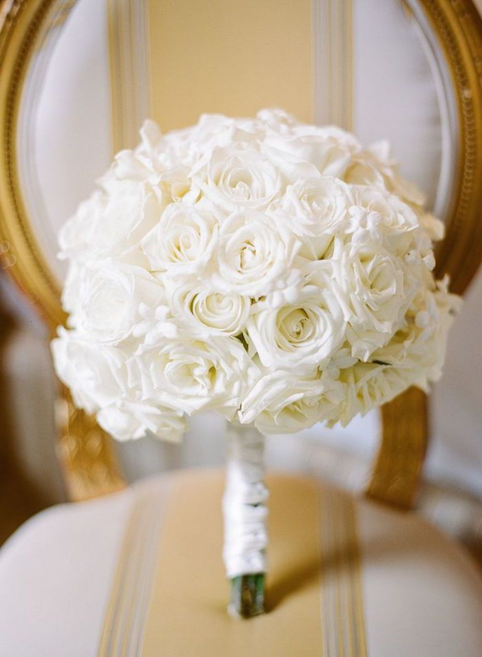 Photographer: Megan Clouse Photography; all white rose wedding bouquet