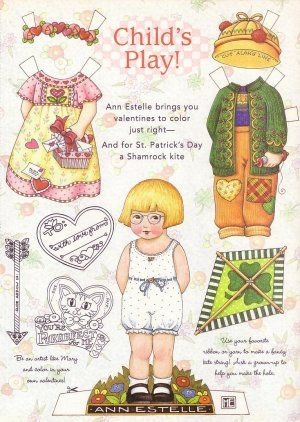Valentine's & St. Patrick's Day Ann Estelle Paper Doll Sheet from Mary Engelbreit's Home Companion