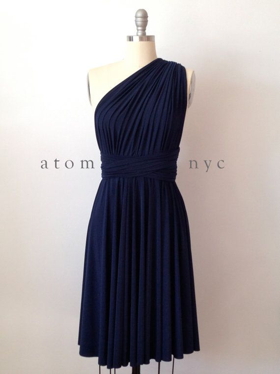 Navy Blue SHORT Infinity Dress Convertible Formal Multiway Wrap Bridesmaid Dress Dress Toga Cocktail Evening Dress