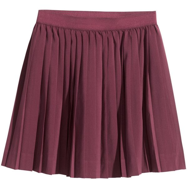 H&M Pleated skirt (£8) found on Polyvore featuring women's fashion, skirts, bottoms, h&m, saia, burgundy, elastic waistband skirt, elastic waist skirt, purple skirt and burgundy skirt