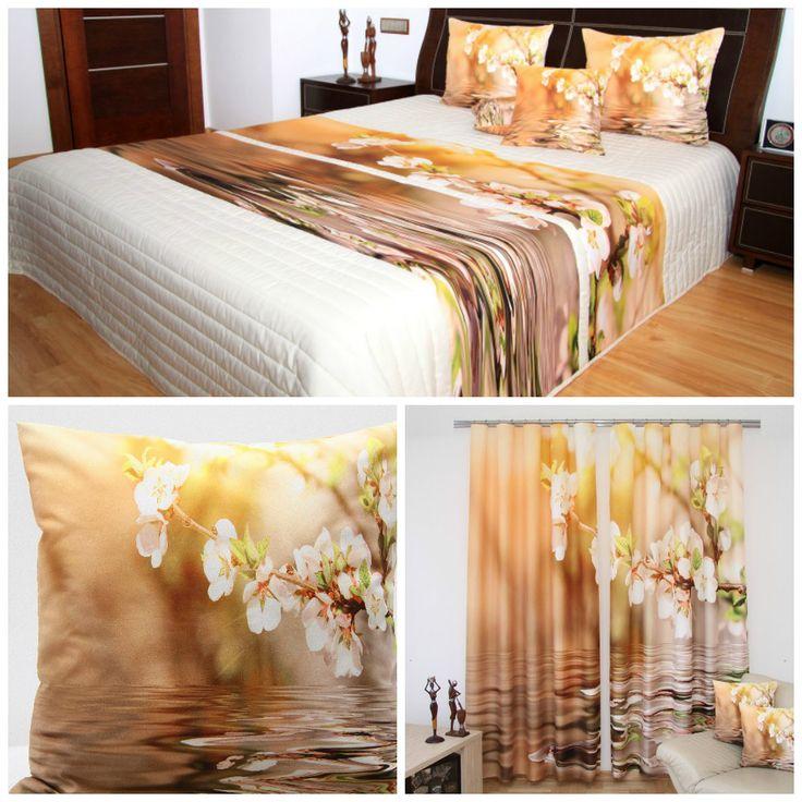 Zestaw dekoracyjny beżowy do sypialni z kwiecistym konarem
