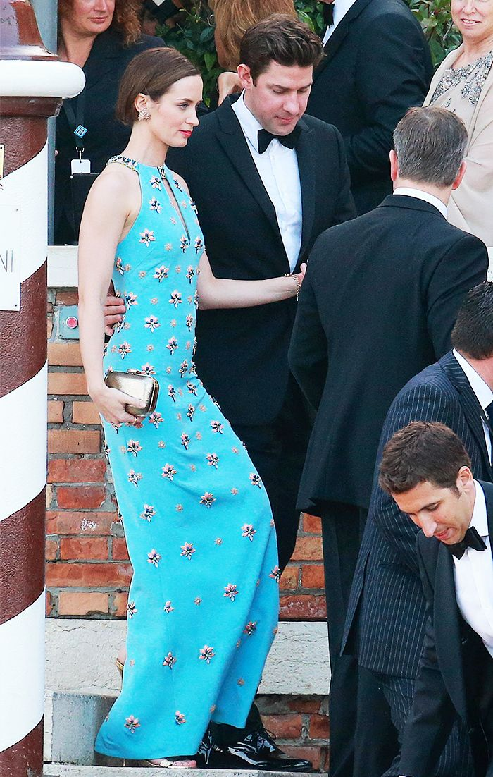 Emily Blunt wears a beaded turquoise gown to George and Amal Clooney's wedding