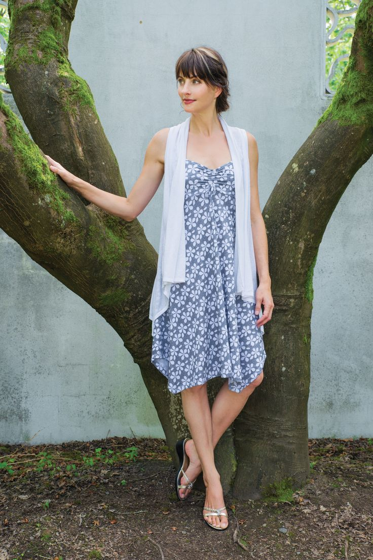 Our beautiful printed organic cotton Ellen tank dress with adjustable front and flowing hem - perfect for summer days - cover with our ultra lightweight organic cotton fine knit vest (wear 4 ways!)  The Ellen is available in both print and solid.  A classic and a favorite!