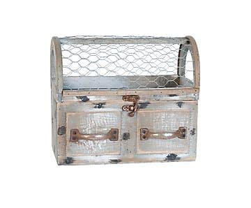 Ящик для хранения /кашпо - дерево - серый, 23х11х20 см