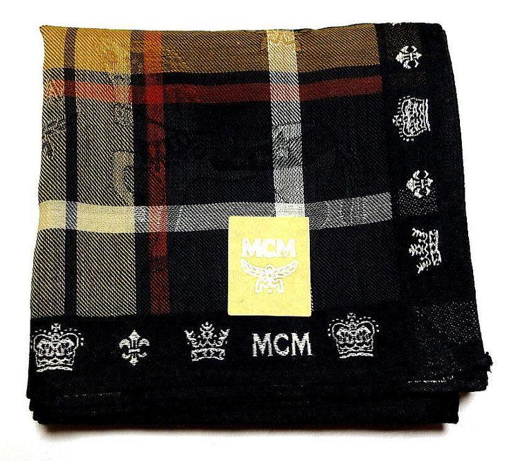 MCM Handkerchief scarf bandana Pocket square Black Horse Cotton Auth New RARE #MCM #DesignerArtist