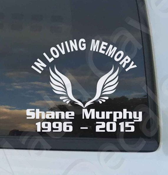 In loving memory angel wings memorial decal car by maddcavedecals