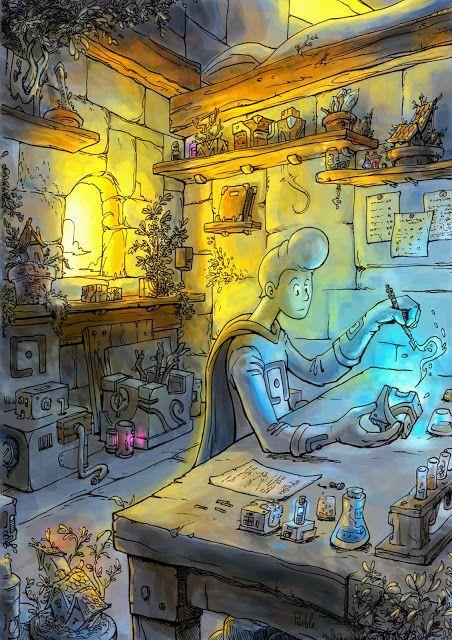 Workshop apprentice mecanic atelier fantasy la fabrique bd cube magique apprenti Art by Le Pueblo
