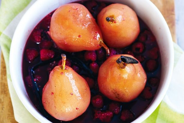 Slow-cooker poached raspberry pears main image