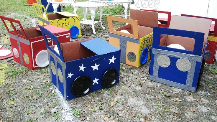 Tema CARROS.  Carritos de carton para diversión de los niños y niñas del cumpleaños de Jorge A., idea de su mamá mk