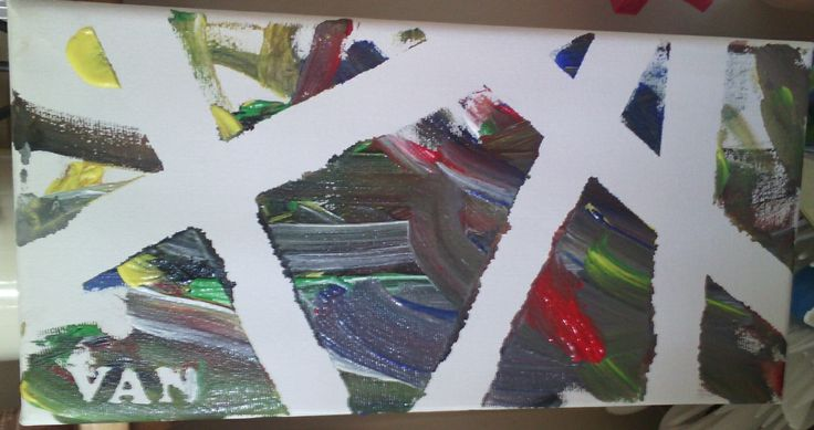 My boys painted canvas we did at home, using masking tape.