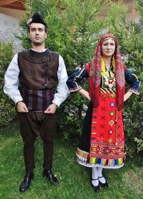 Greek traditional festive costumes from Thrace. Clothing style: early 20th century.