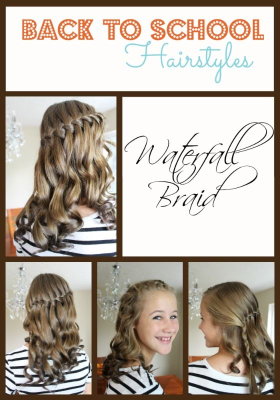 Getting ready for Back to School with Back to School Hairstyles for girls! Fast and easy hairstyles you can do in very little time. Check out this #Waterfall Braid.