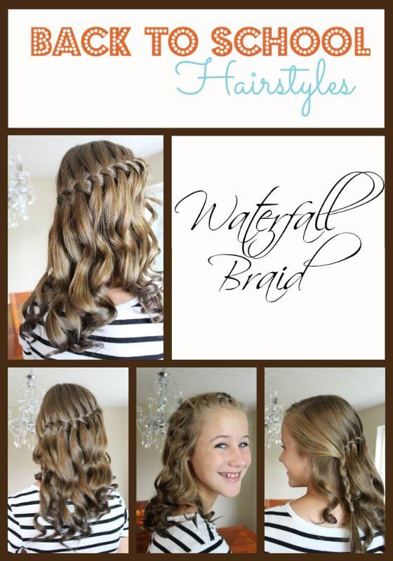 Back To School Hairstyles Waterfall Braid Back To School