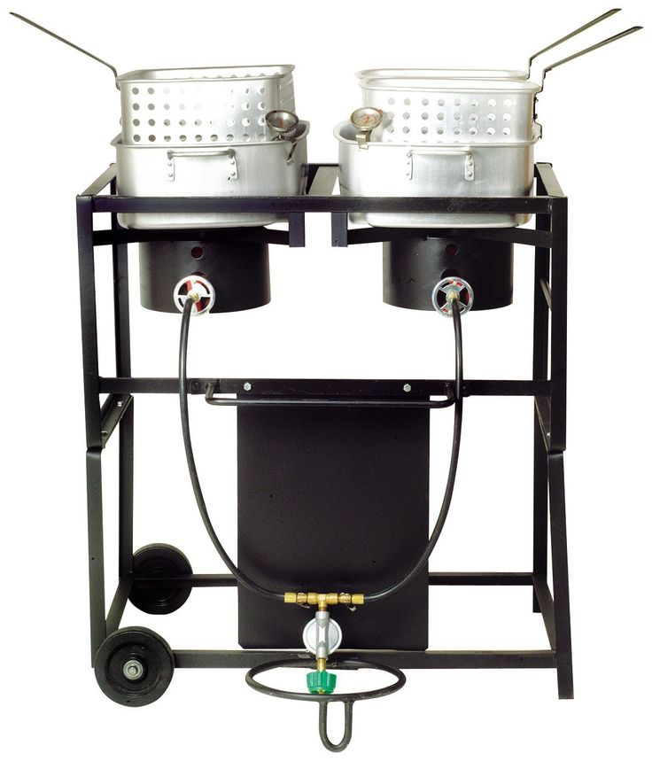 """King Kooker® 30"""" Double Burner Propane Frying Cart with Two Fry Pans"""