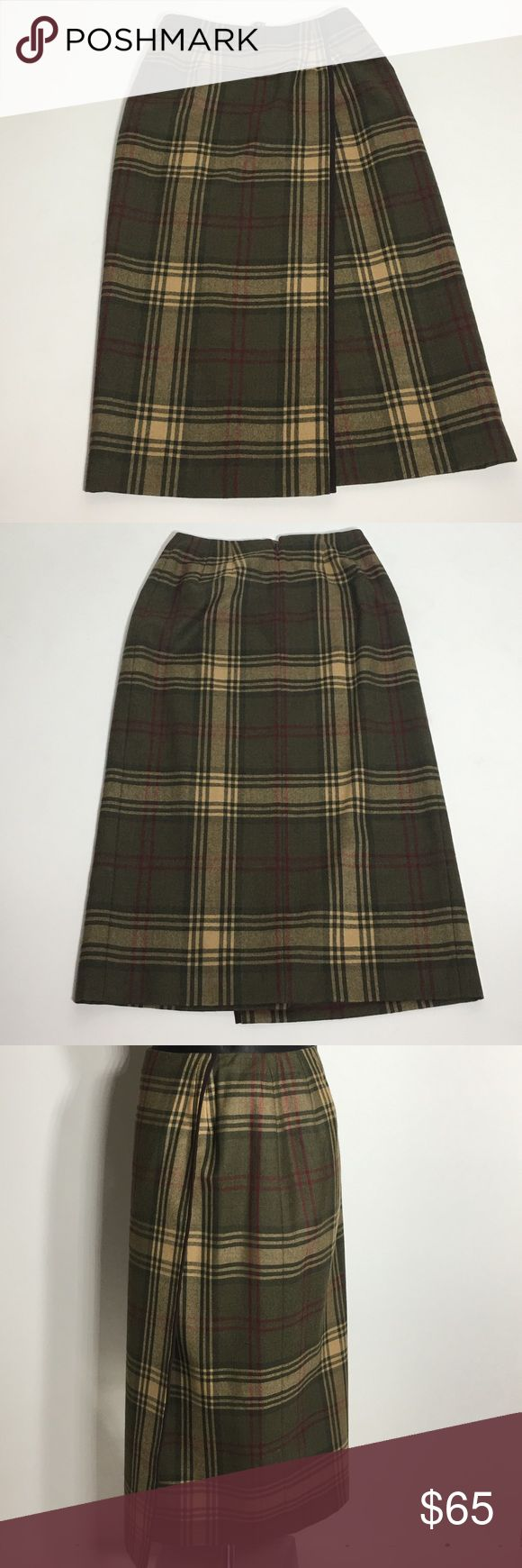 """Talbots Long Plaid Petite Skirt - Size 4 Shell 100% Wool.  Lining 100% Polyester. Made in Guatemala.  Imported fabric. Approx measurements (Flat, no stretching): Waist 13"""".  Length 32"""".  Please ask questions before purchasing.  Gently Used Condition.  See pictures for more information and description details.  Thank you for stopping by my closet.  Sparkles ✨ and Happy Poshing!  📌Fair Offers Considered Talbots Skirts"""