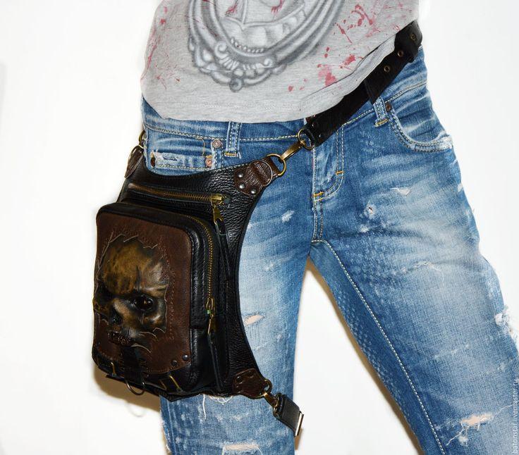 Купить Сумка - рюкзак - Зомби. Набедренная сумка. Череп. Стимпанк . - рюкзак кожаный, рюкзак из кожи