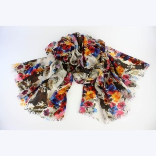 Posie Silk Scarf by Juniper Hearth. Indian, hand screen printed with an Impressionist floral design. Perfect scarf or wrap for spring and summer. $79.