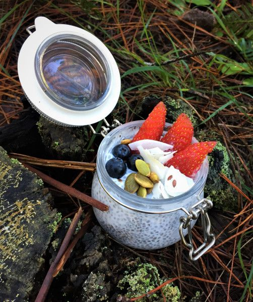 Chia Seed Pudding, camp breakfast, hike food