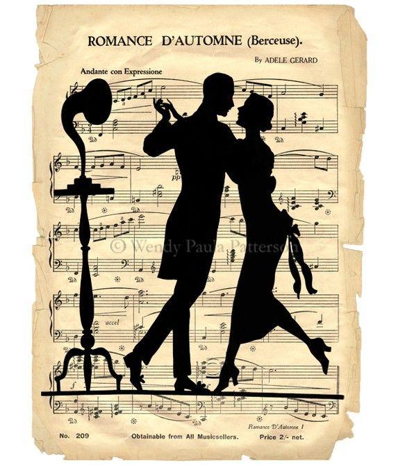 French Dancers by Cafe Baudelaire: Blades Decoupage, Art Journals, Art Prints, Vintage Music, Blades For Decoupage, French Dancers, Music Sheet, Art Deco, Dance Couple