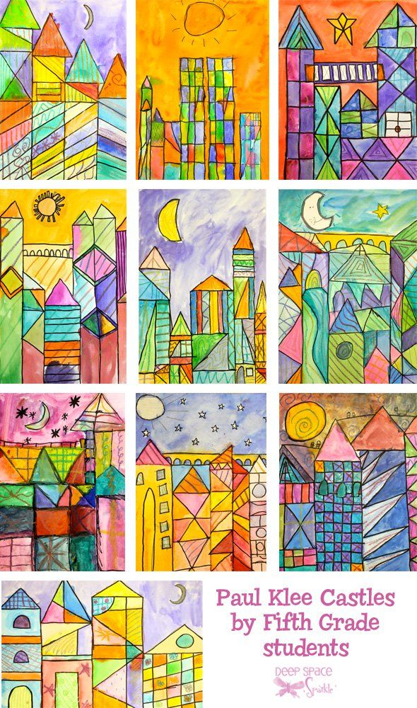 Paul-Klee-art-lesson emphasizes warm - cool relationships and space/line