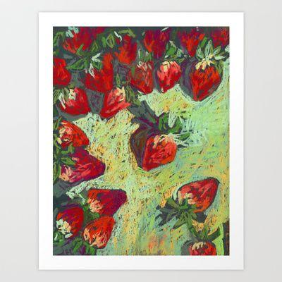 Strawberries on a table. Pastel. Sill life. Art Print by Kira Sokolovskaya - $14.48