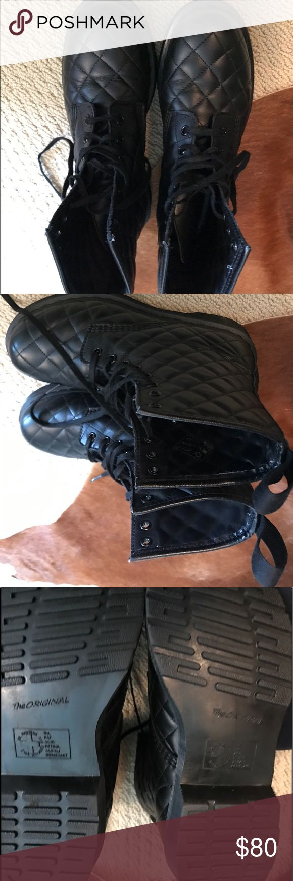 Dr martins Black quited dr Martin boots size 9 women's  dr. Martin Shoes Combat & Moto Boots