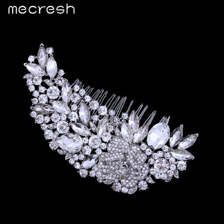 Mecresh Leaf Shape Bridal Hair Combs Luxurious Crystal Rhinestone Wedding Hair Jewelry Accessories Party Gift FS035