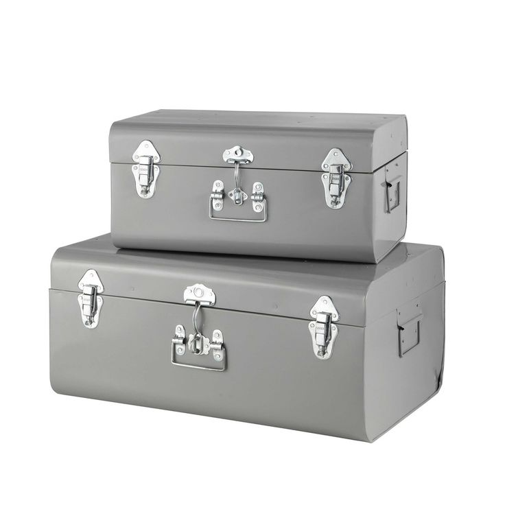2 metal trunks in grey W 44cm and W ...
