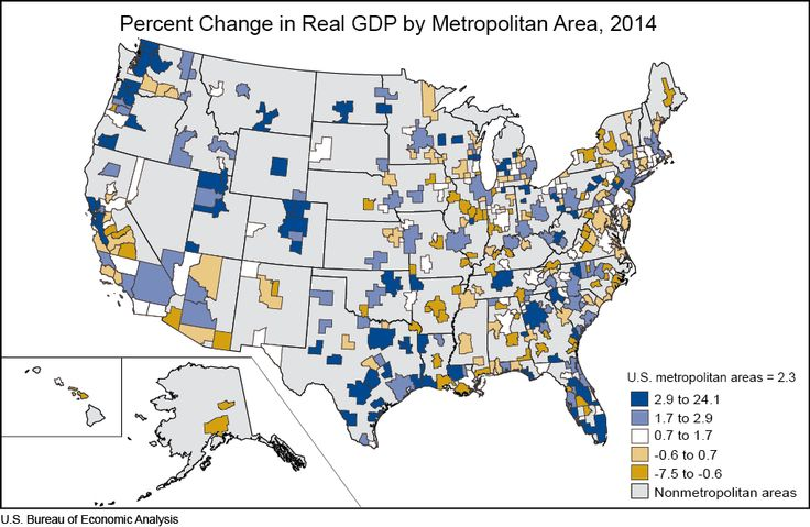 Advance 2014, and Revised 2001–2013 GDP-by-Metropolitan-Area Statistics Real GDP increased in 282 of the nation s 381 metropolitan areas in 2014, led by growth in several industry groups: professional and business services, wholesale and retail trade, and the group of finance, insurance, real estate, rental, and leasing. Natural resources and mining remained a strong contributor to growth in several metropolitan areas. Collectively, real GDP fo