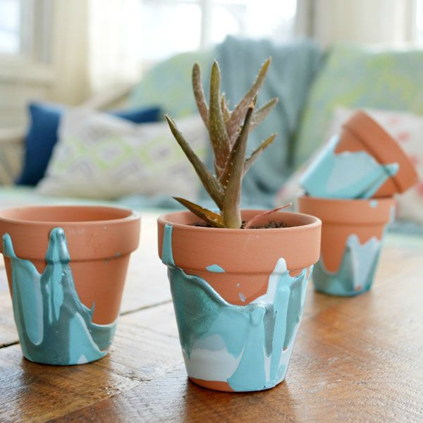 Transform plain pots into works of art with a few drips of pretty craft paint!