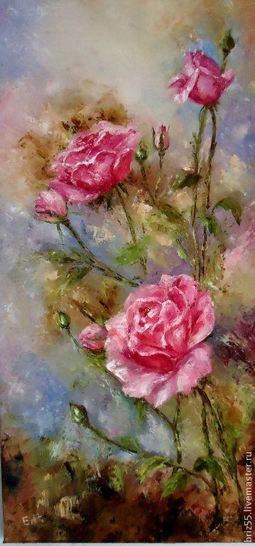 Купить Картина маслом Розовый куст - разноцветный, картина в подарок, картина для интерьера, картина маслом
