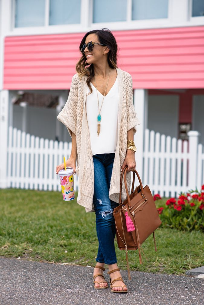 Spring Fashion For Under 0 Comfy, casual, spring outfit -  Topshop Double Strap V-Back Camisole, Blanknyc Hotel Distressed Skinny Jeans, Steve Madden Agathist sandal, Hinge Open Front Cardigan, Kendra Scott Rayne Stone Tassel Pendant Necklace. All from Nordstroms
