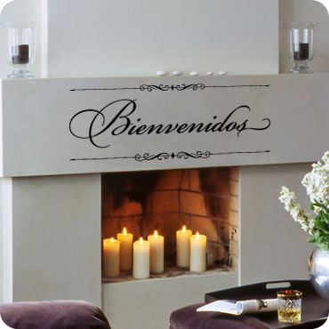 Bienvenidos (Sign Style) (wall decal from WallWritten.com). Spanish for Welcome