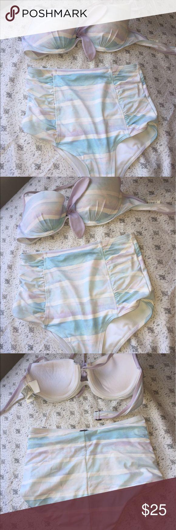 High waisted xs pastel bikini with push-up top Pastel blue and purple high waisted bikini with push up top Abercrombie & Fitch Swim Bikinis