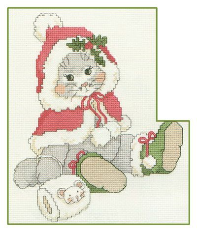 Free Cross Stitch Pattern - Purrfect Christmas. Precious Moments cat is over it lol.