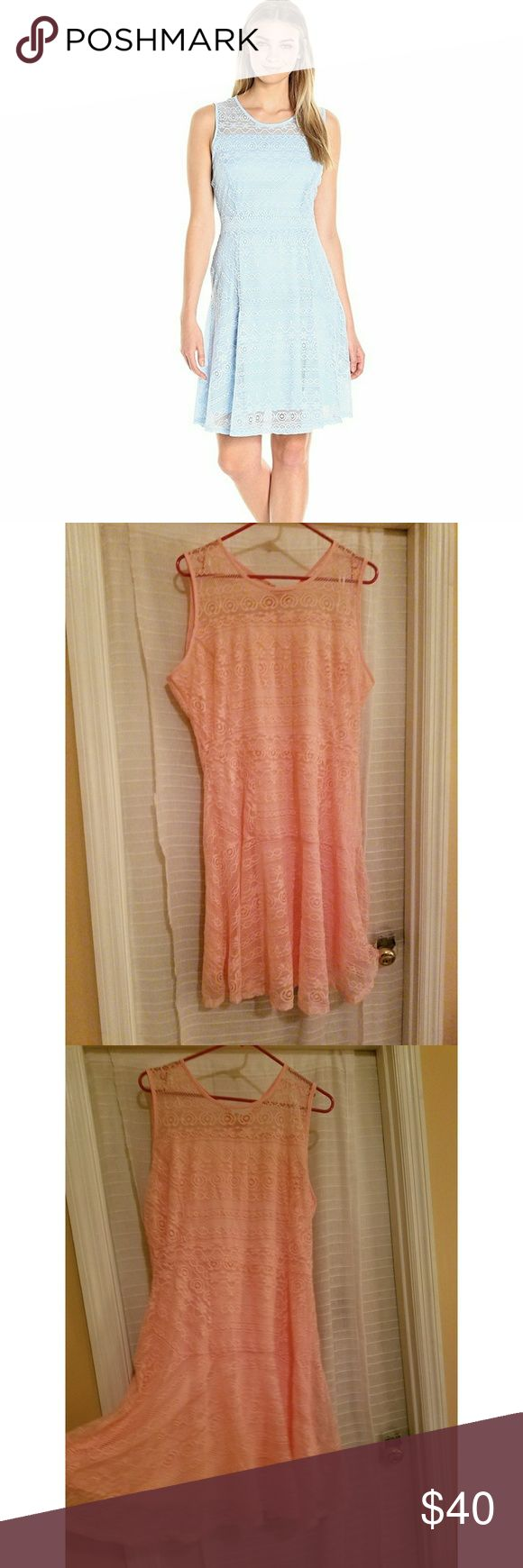 NY Collection spring/summer dress Large Solid sleeveless scoop neck lace fit and flare dress  100% Polyester Made in US  Machine Wash   Solid sleeveless scoop neck lace fit and flare dressGreat for the work place, a night out, and even every day wear.  Color is a peachy pink Nycollection Dresses