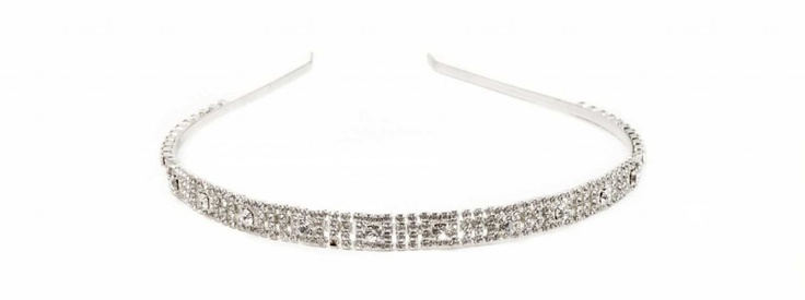 Hairband (brass, strass swarovsky crystal)  Cerchietto per capelli in metallo (ottone) argentato, strass swarovsky crystal e fascia di strass  €95,00  #wedding #bride