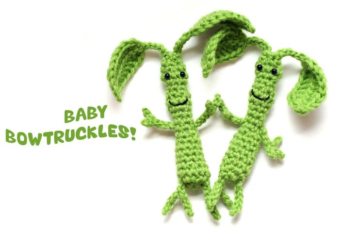 "New free pattern on my blog! Baby Bowtruckles inspired by Pickett from ""Fantastic Beasts & Where to Find Them."""