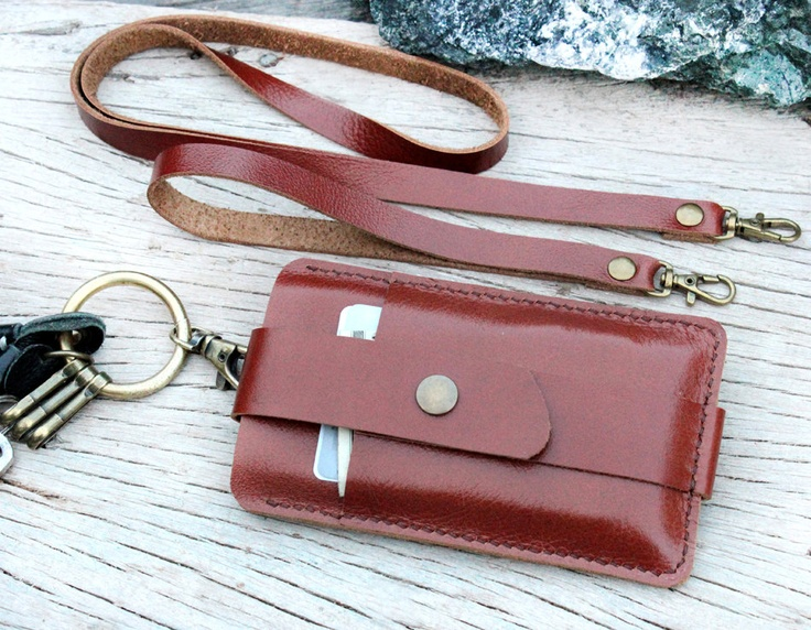Iphone5 / Mocha brown leather wallet for Iphone5 with wristlet strap and Neck strap. $32.00, via Etsy.
