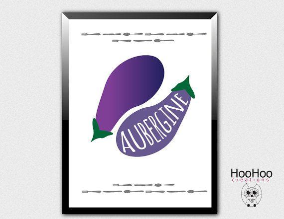 printable aubergine poster, eggplant poster, vegetables poster, veggie art, kitchen poster, kitchen wall decor, purple print