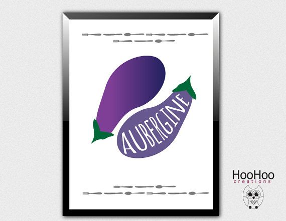printable aubergine poster, eggplant poster, vegetables poster, veggie art, kitchen poster, kitchen wall decor, purple print