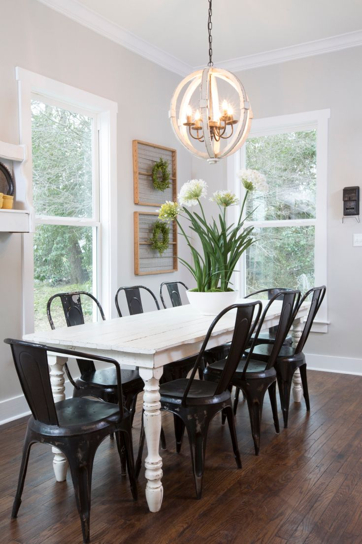 White dining room table - Light Fixture Table And Chairs As Seen On Hgtv S Fixer Upper Thursdays