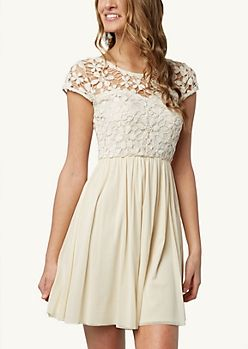 Lace in Front Short Back Long Dress in Black Rue21